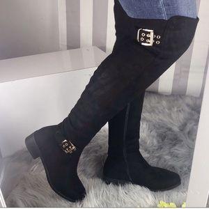 Black Over The Knee Boots Low Block Heel